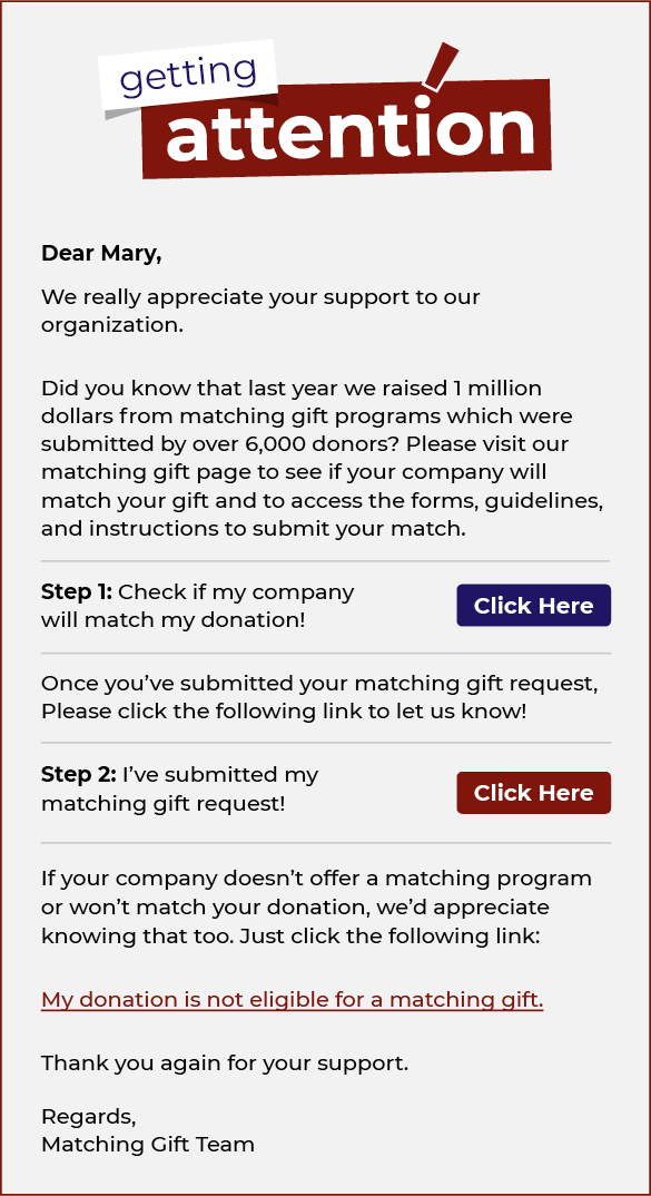 Incorporating matching gifts as part of your email appeals is a matching gift best practice.