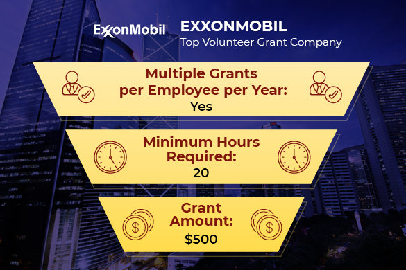 ExxonMobil is one of the top companies with volunteer grant programs.