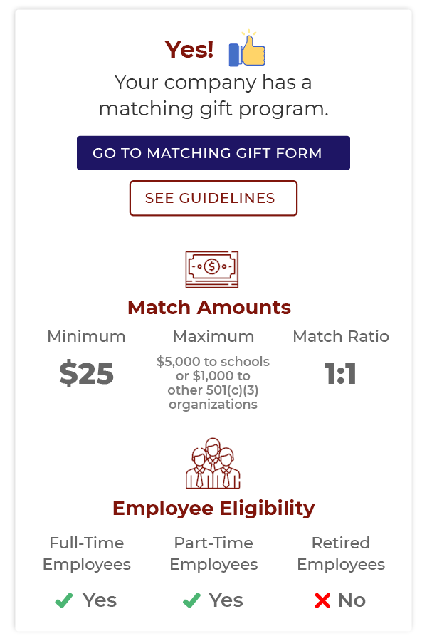 This search tool widget offers information about matching gifts for higher education institutions.