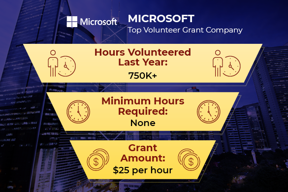 Microsoft is one of the top companies with volunteer grant programs.