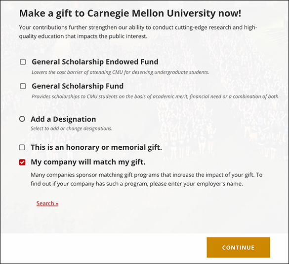 Carnegie Mellon University promotes its matching gift initiative right on the donation form.