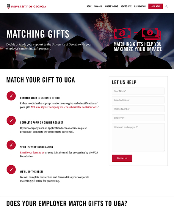 Here's a closer look at UGA's matching gift initiatives.