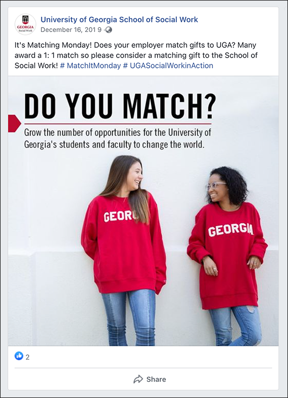 Here's an example of UGA's matching gift initiatives on social media.