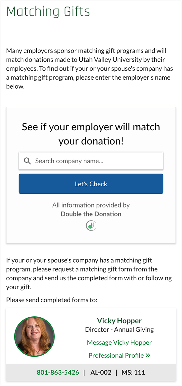 Here's a closer look at Utah Valley University's matching gift initiatives.