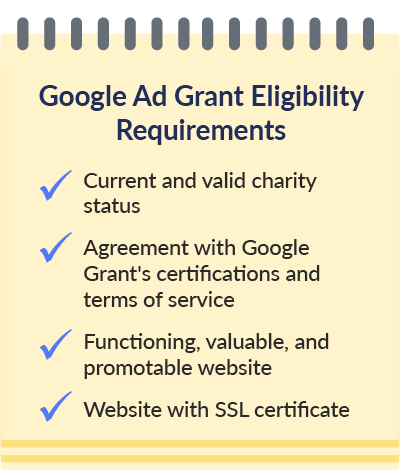 Use this checklist when determining Google Ad Grant eligibility.